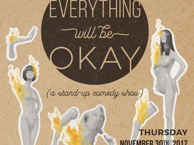 Everything Will Be Okay Poster baltimore mannequin fire event digital illustration typography illustration poster