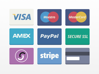 Flat Payment Cards visa maestro amex paypal ssl secure solo stripe credit card psd