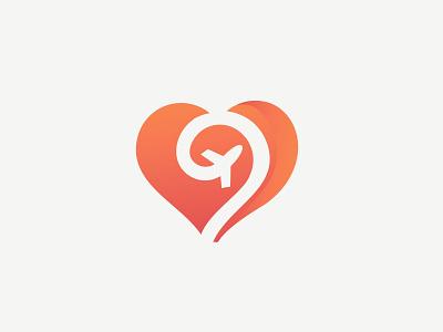 Love travel logo heart love air plane travel vector icon branding illustraion planet logo design gradient gradient logo vacation traveling tourism destination flight