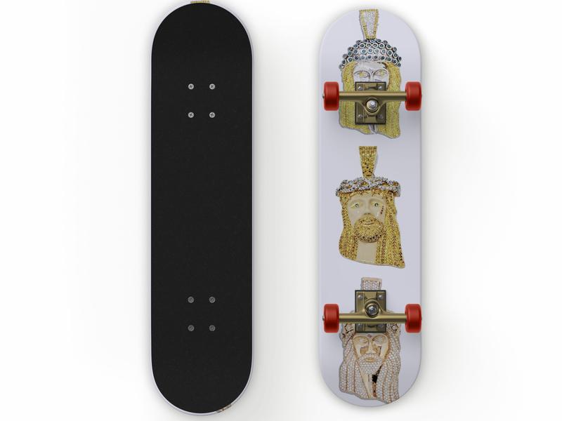 Bury me a G, 3 Jesus pieces skateboard deck skate deck dmv design cool white gold rose gold gold skate board skateboard skate or die trap music jesus hypebeast bling jesus christ rick ross hip hop jewelery jesus piece graphic design