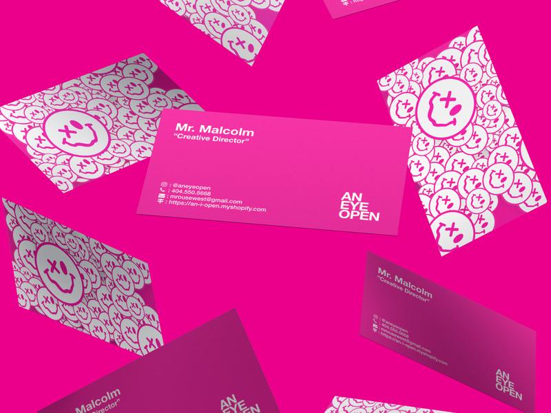 Big Bold Business Card swiss design bde business card business card design magenta emoji smiley face smiley cool design helvetica branding graphic design