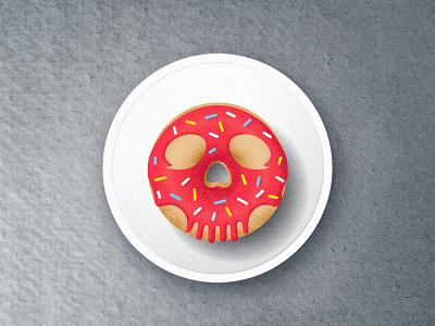 skull donut digital art wip art skull art treat textures texture sprinkles skull donut doughnut design vector illustration