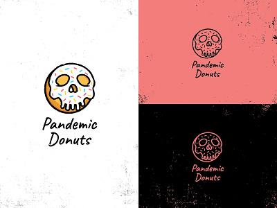 Pandemic Donuts pandemic quarantine life sprinkles skeleton skull donut shop doughnuts donuts doughnut donut typography icons logos identity brand design logo branding vector illustration