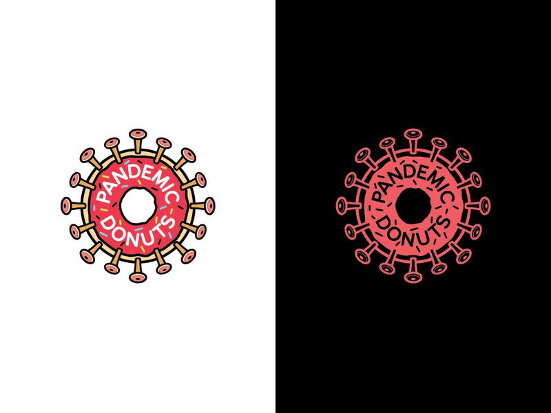 covid donut frosting sprinkles coronavirus virus pandemic quarantine life doughnuts doughnut donuts donut typography icons logos identity brand design logo branding vector illustration