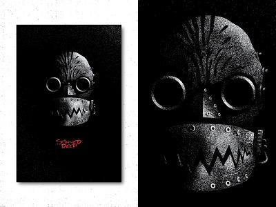 Skinned Deep monster creature jaws skinned deep silhouette texture horror alternative movie poster movie poster design movie poster poster design vector illustration