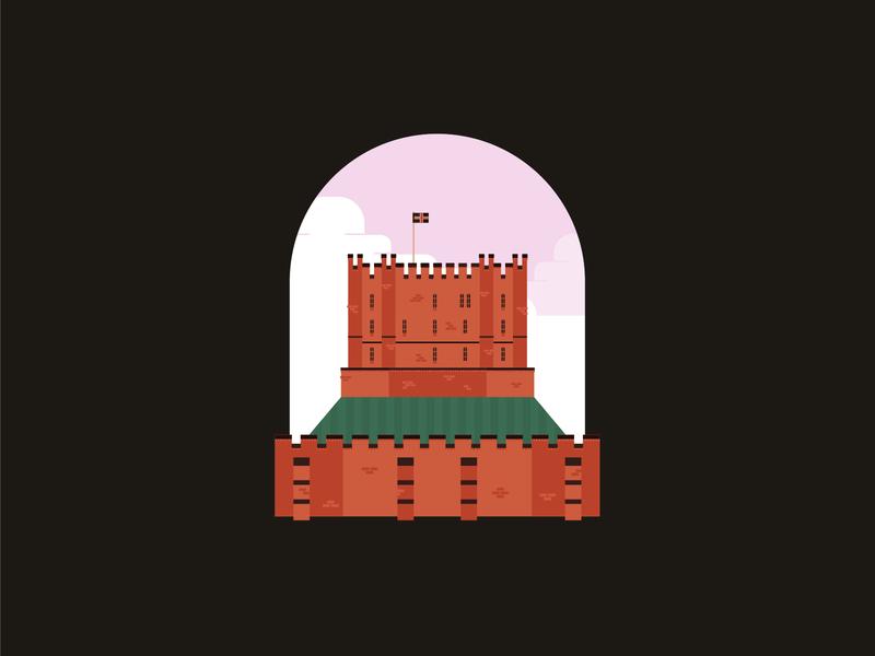 Durham Castle history vector illustration north east uk durham fort castle illustration