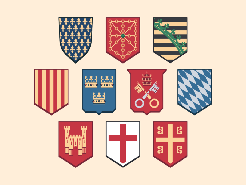 Medieval Coat of Arms Redesigns Part 2 shield medieval europe badge crest coat of arms brands logo