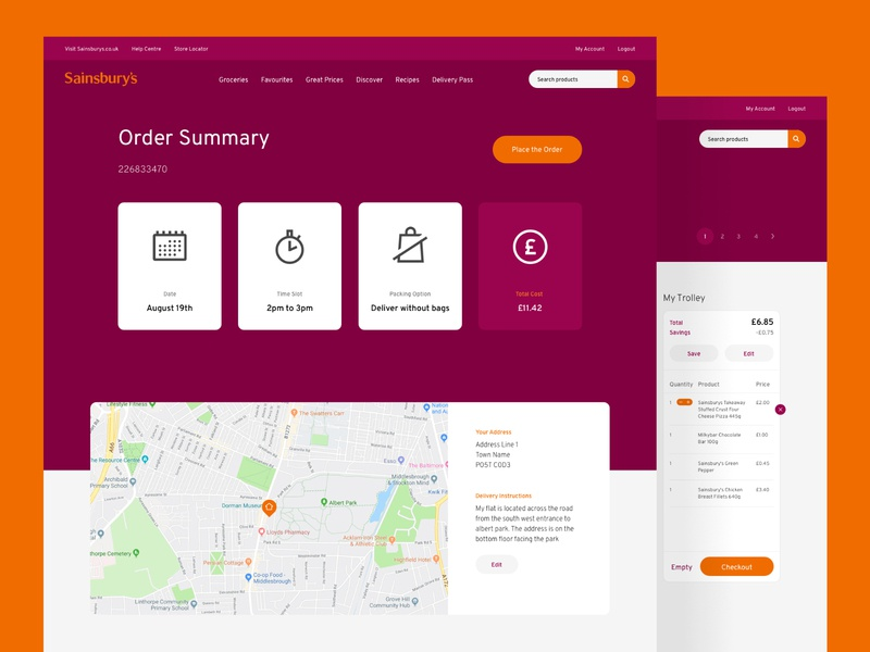 Sainsburys order online, summary and checkout cart checkout delivery grocery ecommerce store website ux design ui