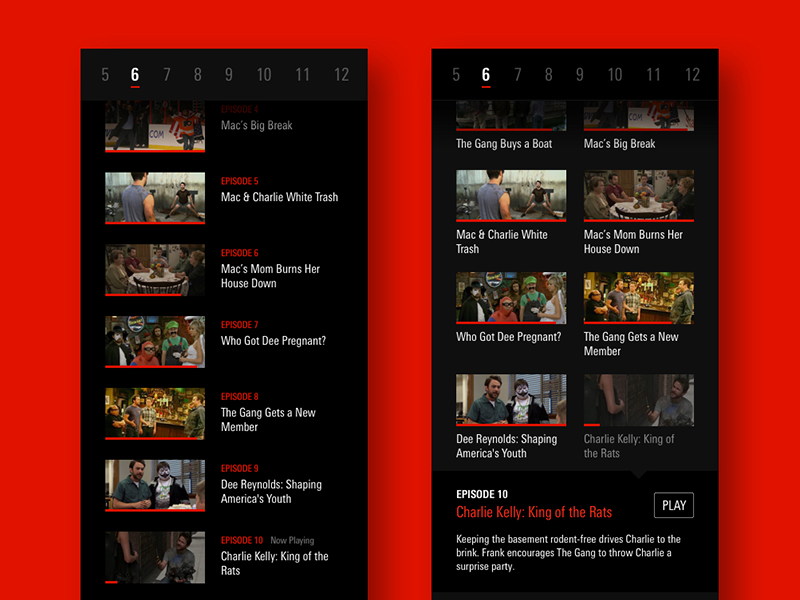 Netflix Episode List Concepts by Simon Ward on Dribbble