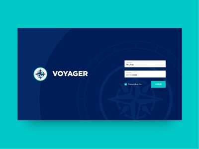 CMS Login Screen and Logo voyager compass login cms website ui branding logo