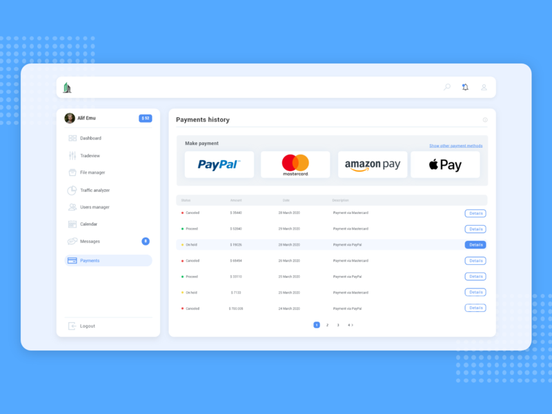 Payment history ui design concepts