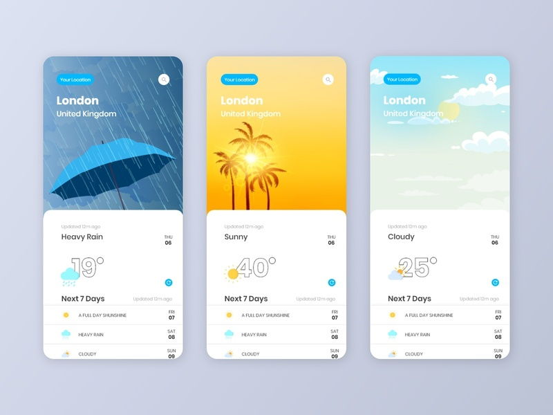 Weather App Ui adobe xd template adobe xd alifemu rainy weather heavy rain sunny weather cloudy weather ios weather app ios weather mobile weather app weather forecast weather weather app ui weather app