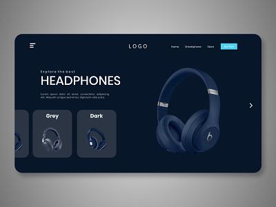 Headphone Header Exploration web theme design figma adobe xd landing page header headphone buy beats ecommerce e-commerce headpones