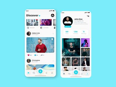 Social Media App UI ios app adobe xd app design mobile app adobe xd templates ui ux design ui design ui alifemu free ui kit ios template profile ui profile social media ui kit social media app