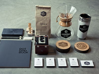 Cosmic Brand Kit cosmic brand kit chemex coasters cards print dot grid pencils coffee camera