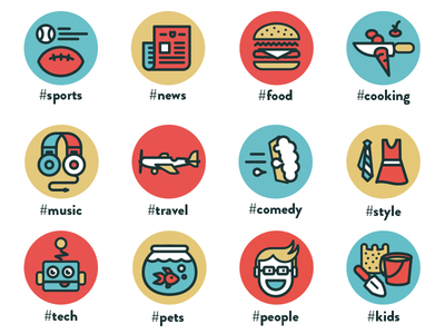 Tag Icons tricolor tag icons sports news food cooking music travel comedy style tech pets people kids