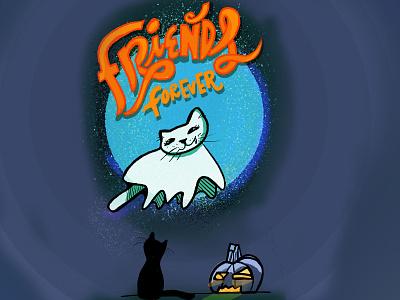 Halloween Cats friendship halloween design night cats ghost supernatural kawaii halloween animal illustration digital lettering digital illustration handlettering