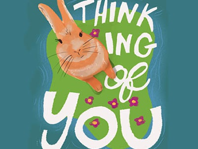 Bunny Greeting Card digital lettering design animal illustration typography illustration hand-lettering digital illustration