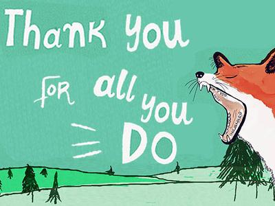 Thank you Greeting Card illustration cosmic handlettering 3d lettering design animal illustration hand-lettering digital illustration