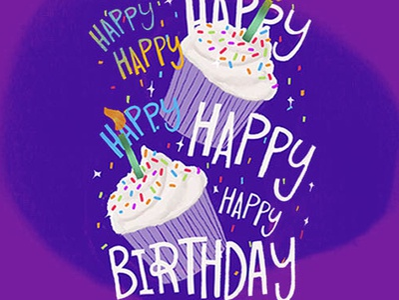 Happy Birthday Greeting Card design typography 3d lettering digital lettering illustration cosmic hand-lettering handlettering digital illustration