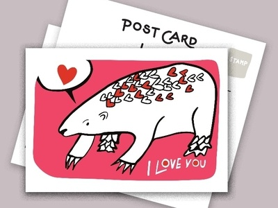 "Postcards series ""send more snail mail' hearts pangolin postcards illustration handlettering"