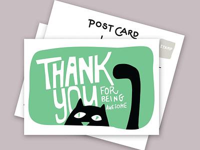 "Postcards series ""send more snail mail vector doodles illustration handlettering thank you black cat cats"