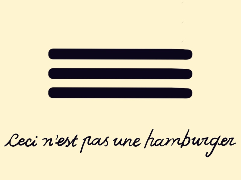 """Ceci n'est pas una hamburger """"this is not a burger"""" u digital pun illustration handlettering menu bar ux design"""