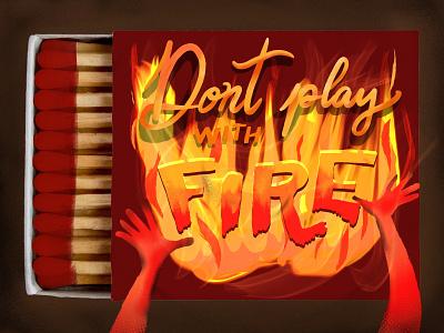 matches series illistration lettering fire matchboxes