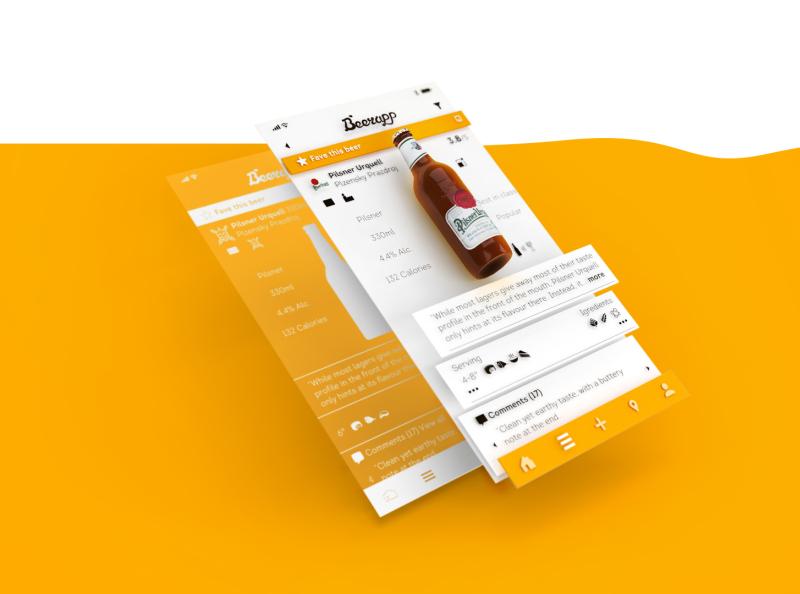Beer App 3d ux petya branding app yellow beer