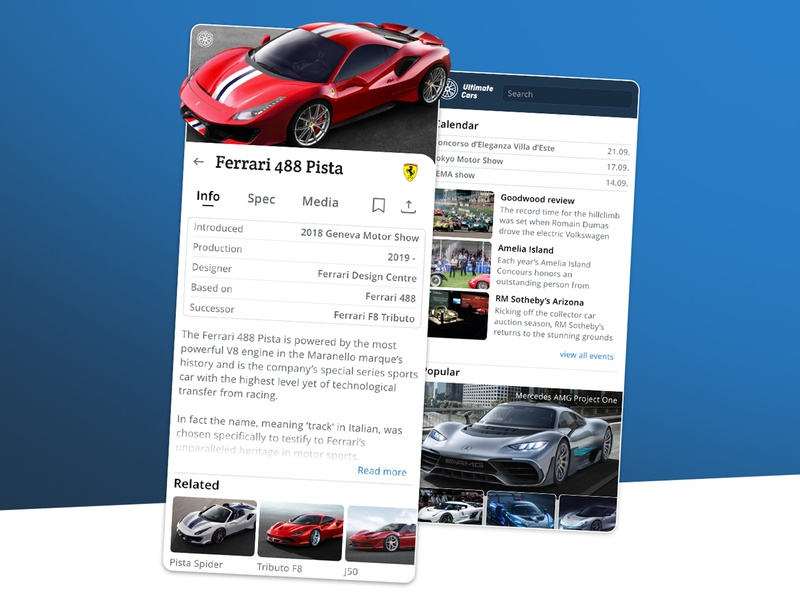 Ultimate Cars design petya application mercedes ferrari ux uiux ui app supercars oldtimers automotive cars
