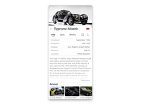 Ultimate Cars   Car Info page design petya application ultimate oldtimers supercars black bw interaction ux ui app
