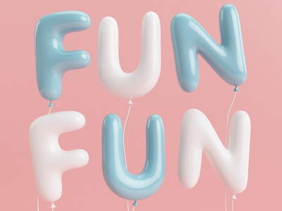 Fun Hd 3d c4d type typography lettering shine pastel color 365rounds fun vray balloon