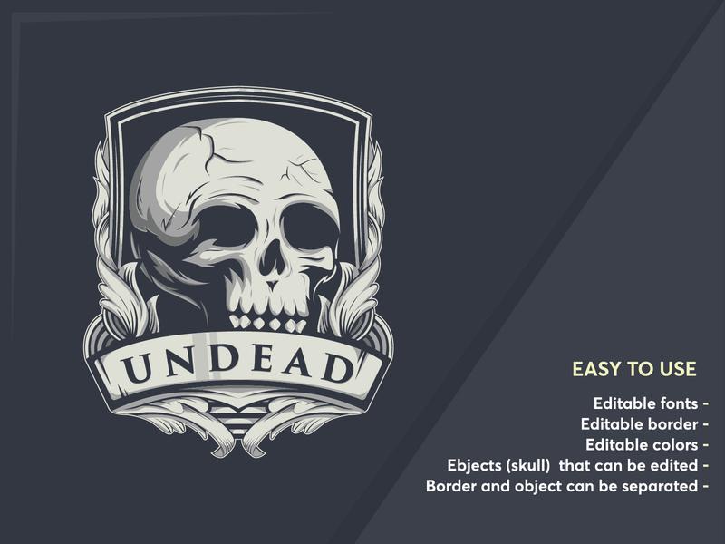 head skull badge logo template