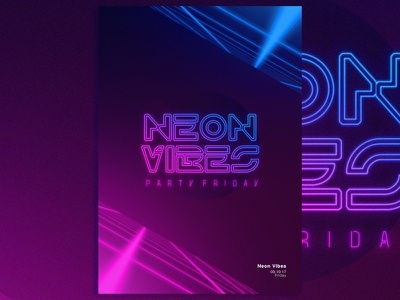 Posters and Gradients ~ Neon Vibes typography poster photoshop gradients design