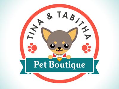 Pet Boutique Logo dog seal pets paw prints logo branding ribbon cute chihuahua