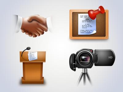 Various Icons icon icons handshake hands corkboard pushpin podium paper camera camcorder cam
