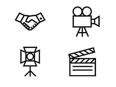 Entertainment Icons minimal icons handshake film clapper scene clapper film slate movies entertainment industry video camera film equipment stage light flat