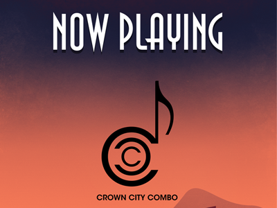 Crown City Combo Poster illustration city sunset mountains music typography vintage poster