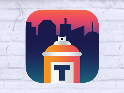 Street Art App Icon sunset gradient photoshop icon ios 7 app street cityscape t spray can street art