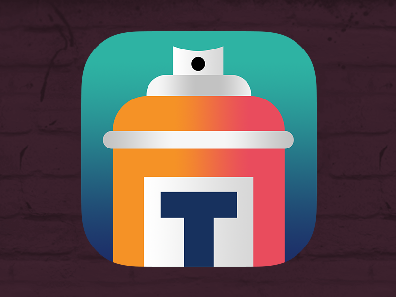 Street Art App Icon 2 gradient photoshop icon ios 7 app street cityscape letter t spray can street art