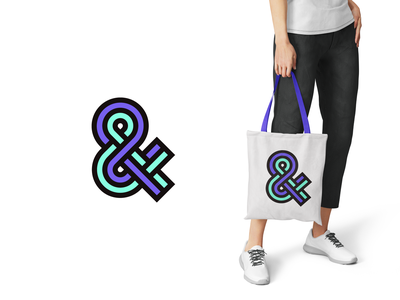 Ampersand symbol icon totebag typography logo green aqua purple ampersand