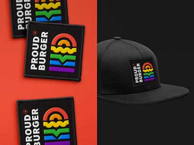 Proud Burger icons pictogram burger proud badge patch