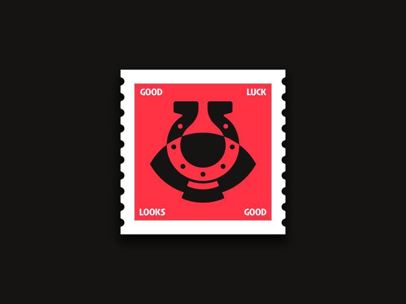 Good Luck Looks Good stamp horseshoe luck symbol icon logo pictogram