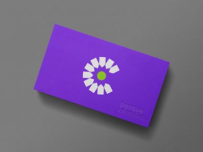 parque céntrika card flower business card identity park icon branding logo