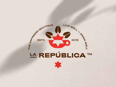 La República logo coffee identity icons branding pictogram