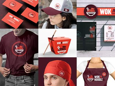 WokaNoodle 🐉🍜 branding restaurant food wok dragon logo chinese