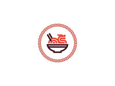 WokaNoodle 🐉🍜 food restaurant chinese dragon identity symbol branding logo