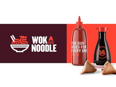 WokaNoodle 🐉🍜 chinese food sign noodle wok food chinese restaurant identity branding logo