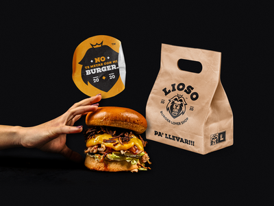 Don't mess with my burger! brand identity takeaway sticker lion lion logo identity branding logo burger