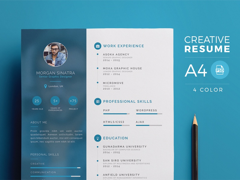 creative resume template by micromove on dribbble